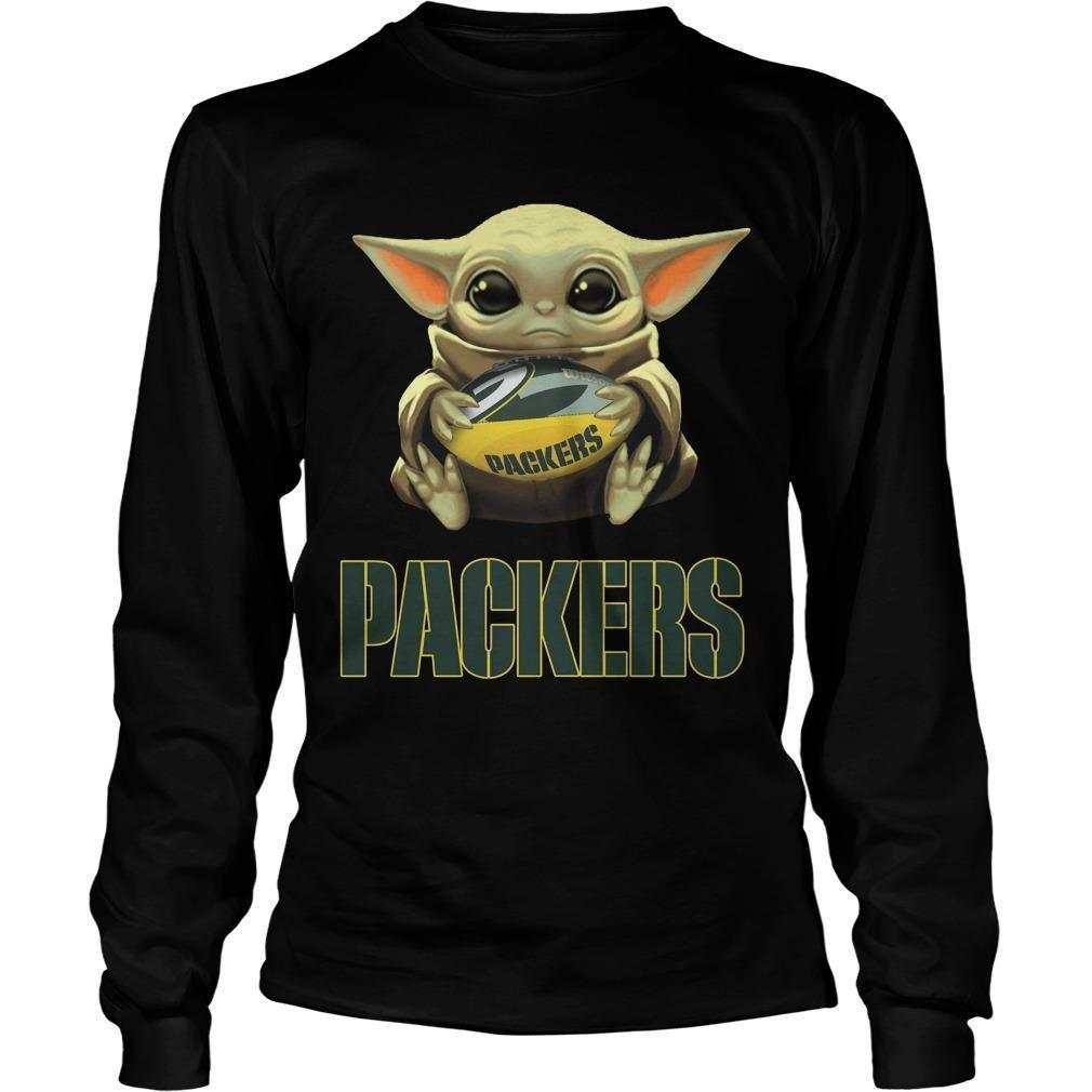 Baby Yoda Hugging Green Bay Packers Longsleeve