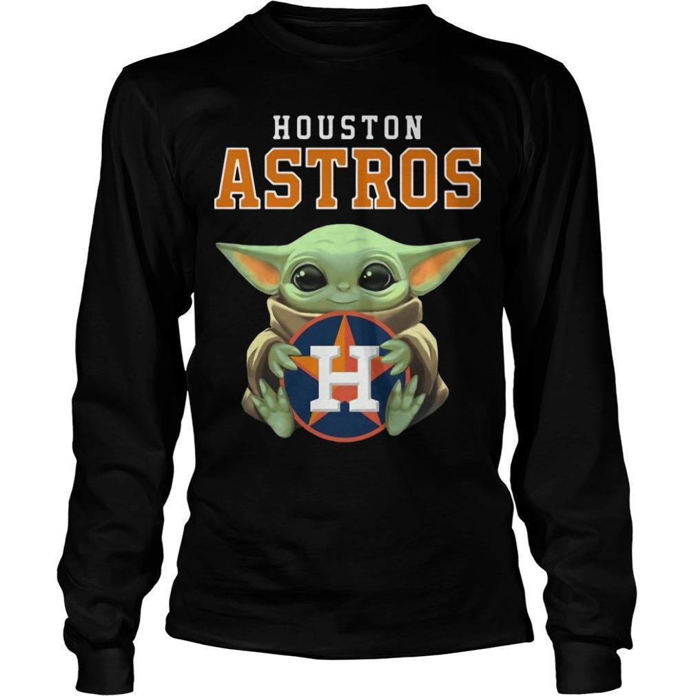 Baby Yoda Hugging Houston Astros Longsleeve