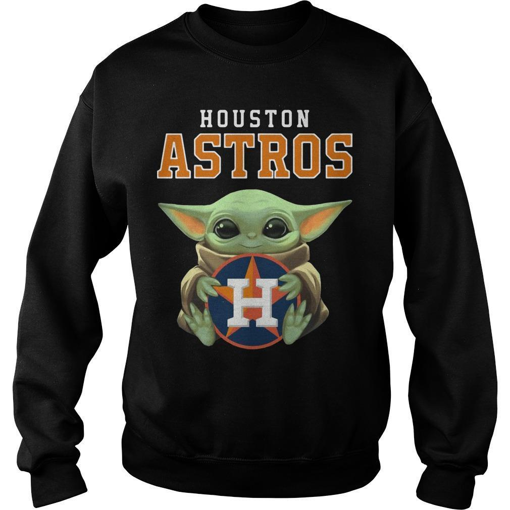 Baby Yoda Hugging Houston Astros Sweater