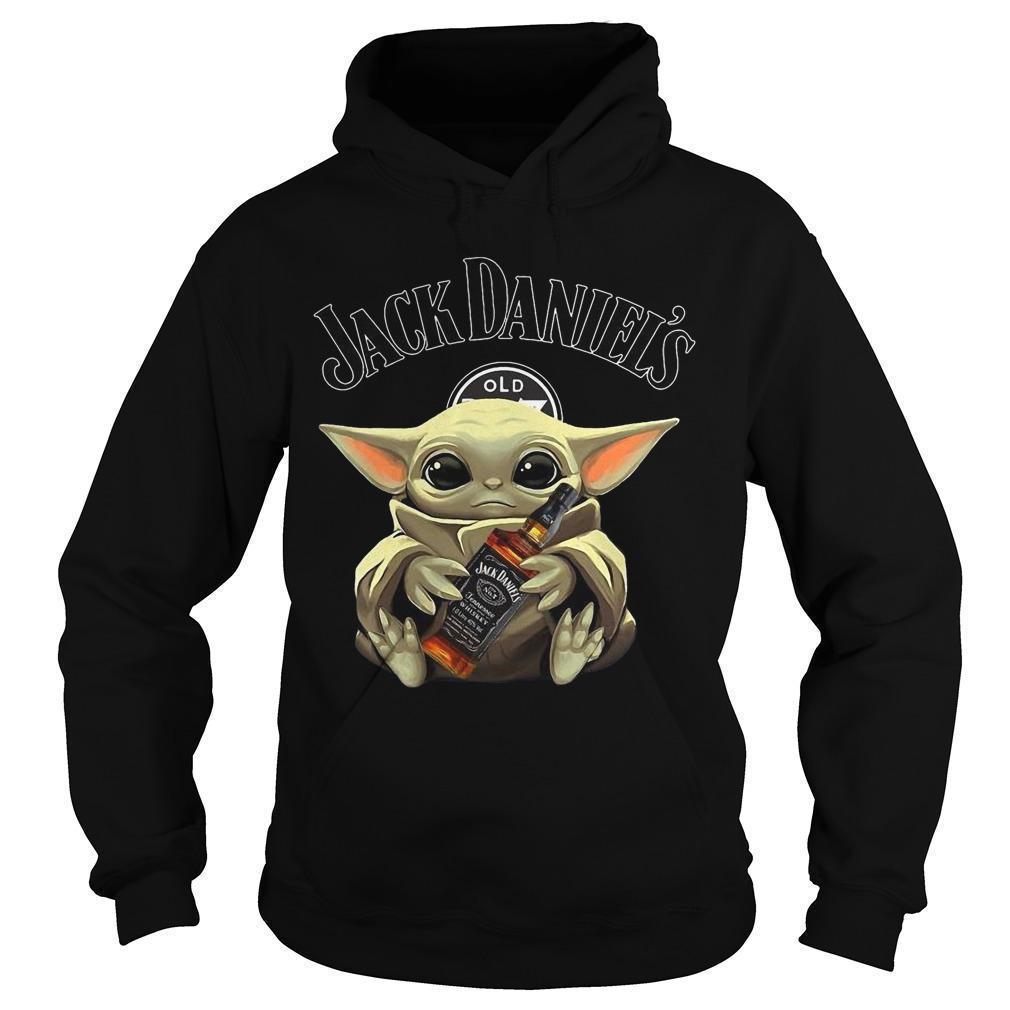 Baby Yoda Hugging Jack Daniel's Whiskey Hoodie