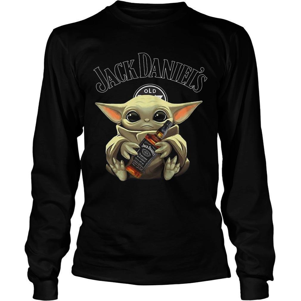 Baby Yoda Hugging Jack Daniel's Whiskey Longsleeve