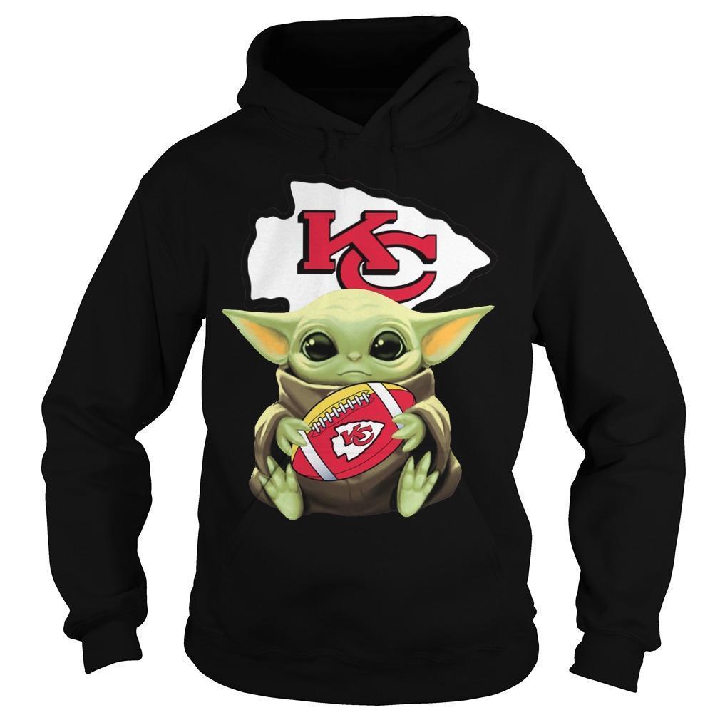 Baby Yoda Hugging Kansas City Chiefs Hoodie