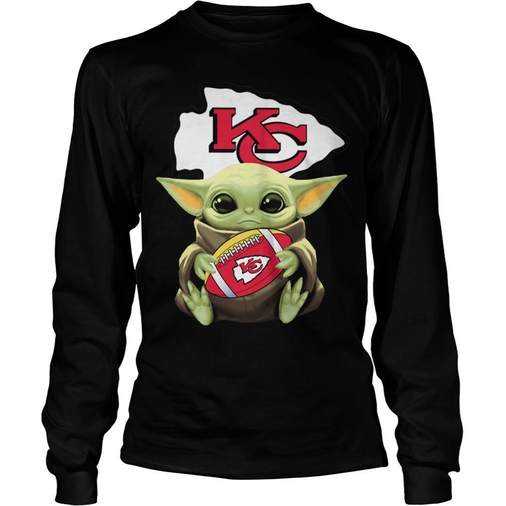Baby Yoda Hugging Kansas City Chiefs Longsleeve