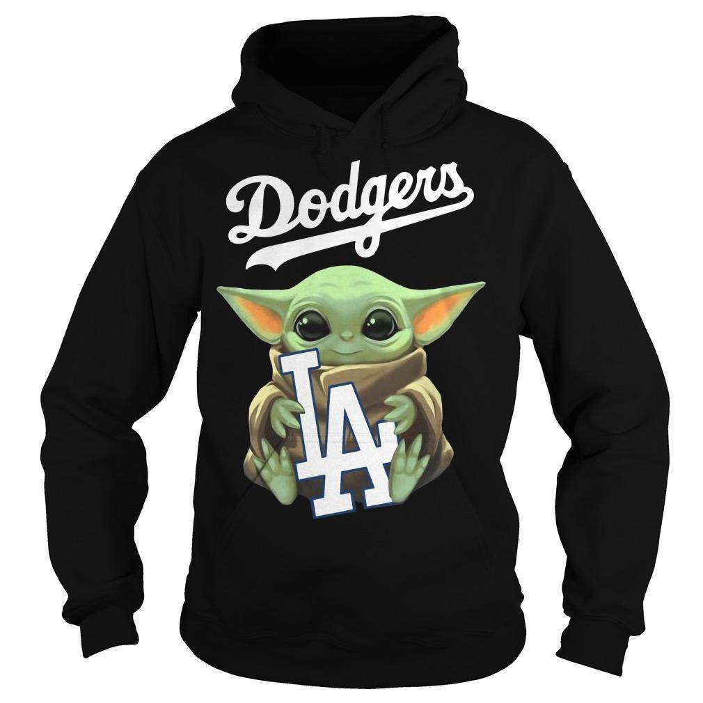 Baby Yoda Hugging Los Angeles Dodgers Hoodie