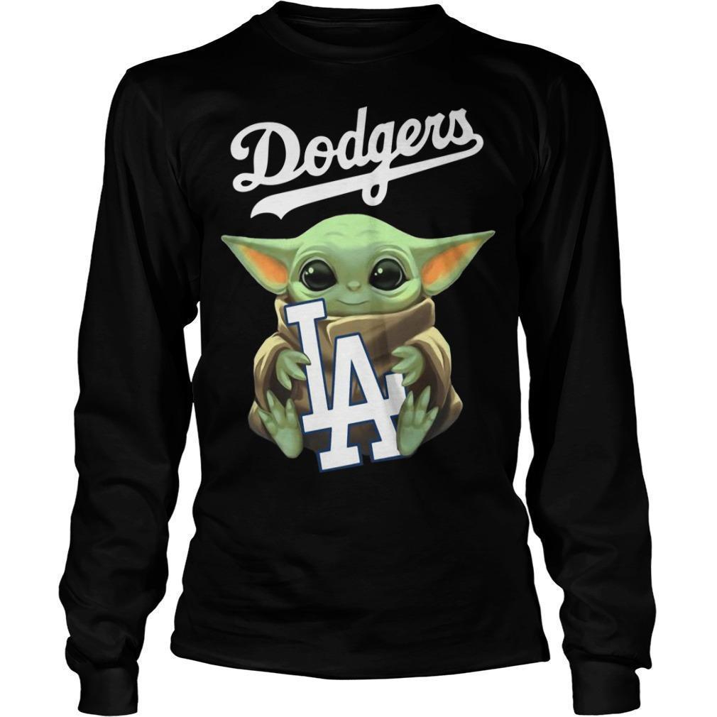 Baby Yoda Hugging Los Angeles Dodgers Longsleeve