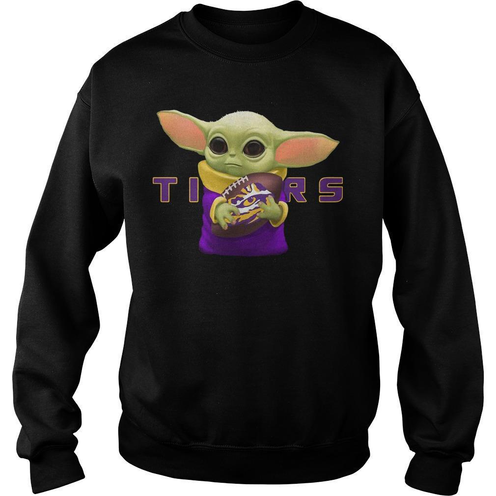 Baby Yoda Hugging Lsu Tigers Sweater