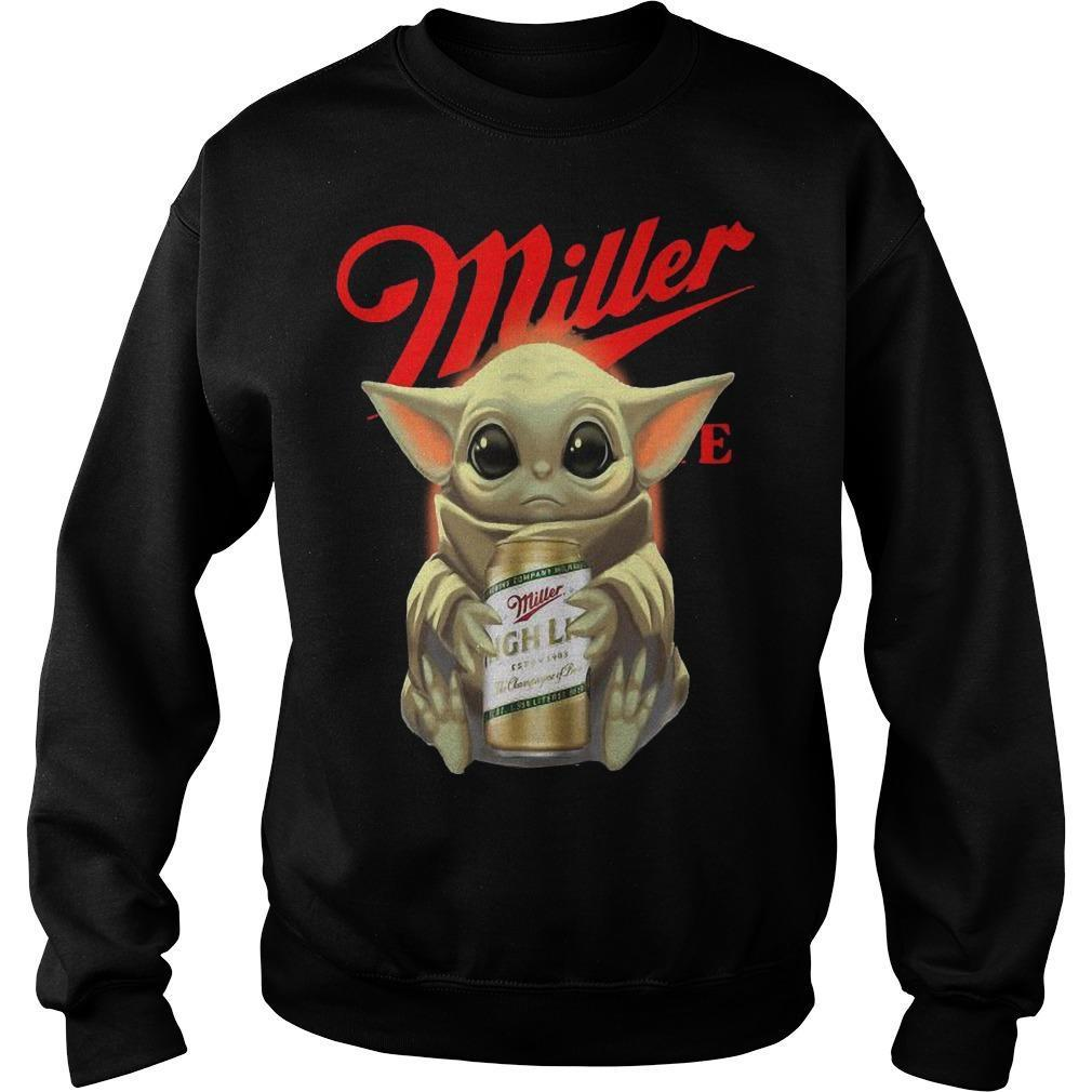 Baby Yoda Hugging Miller High Life Sweater