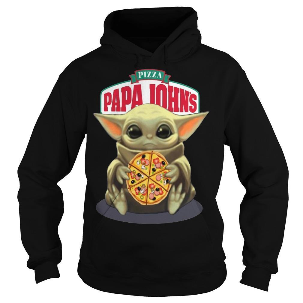 Baby Yoda Hugging Pizza Papa Johns Hoodie