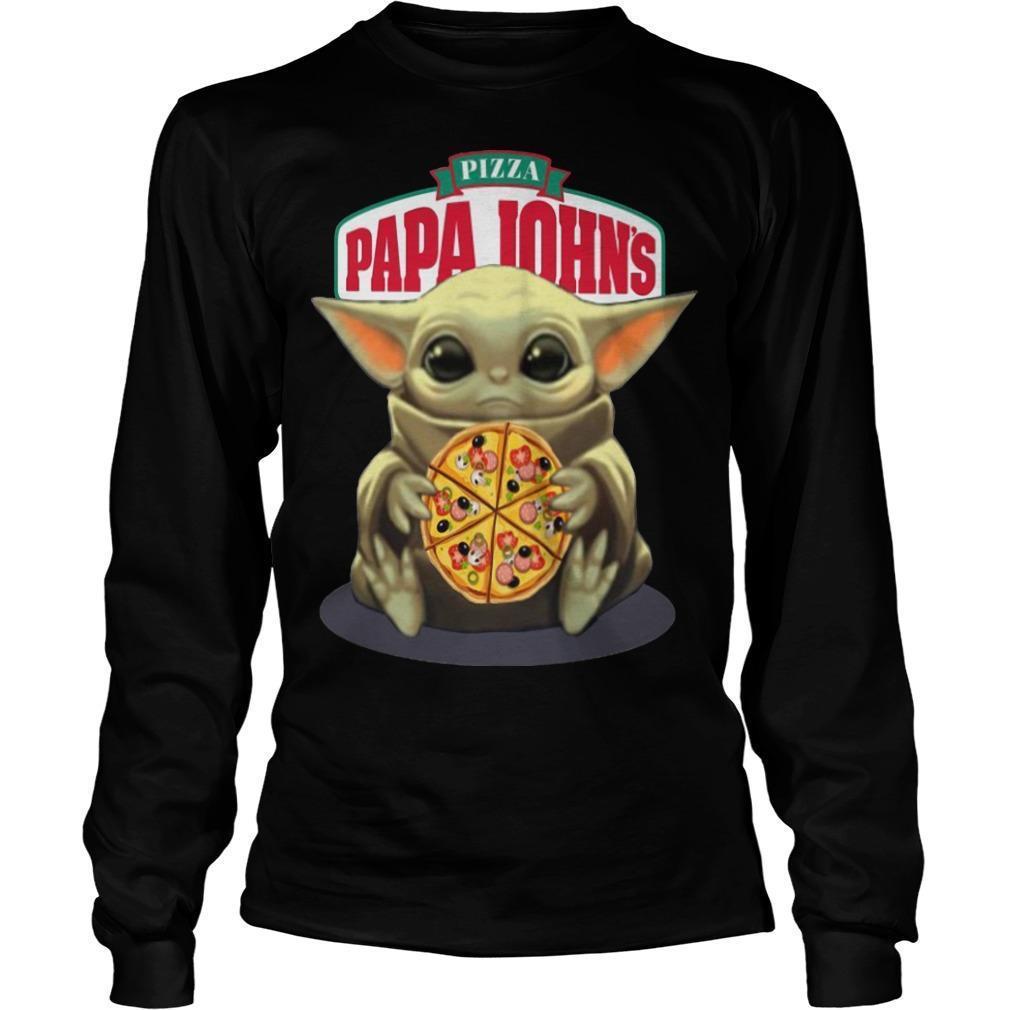 Baby Yoda Hugging Pizza Papa Johns Longsleeve