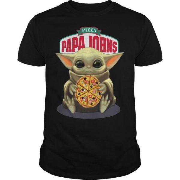 Baby Yoda Hugging Pizza Papa Johns Shirt
