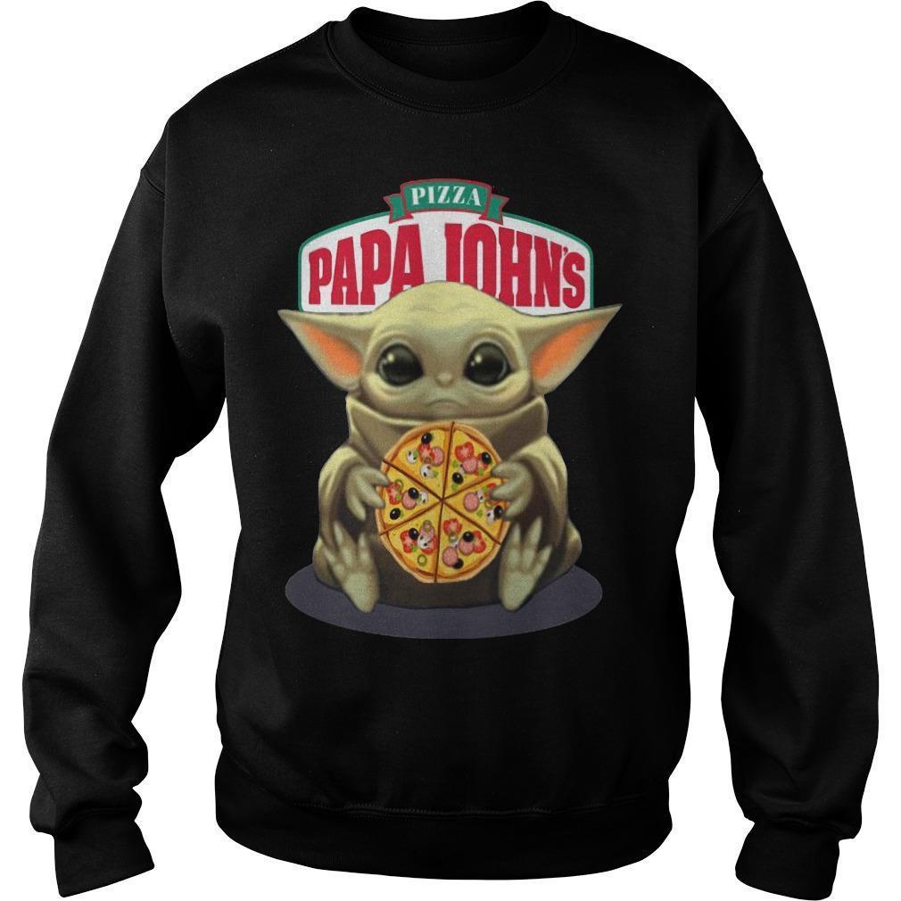 Baby Yoda Hugging Pizza Papa Johns Sweater