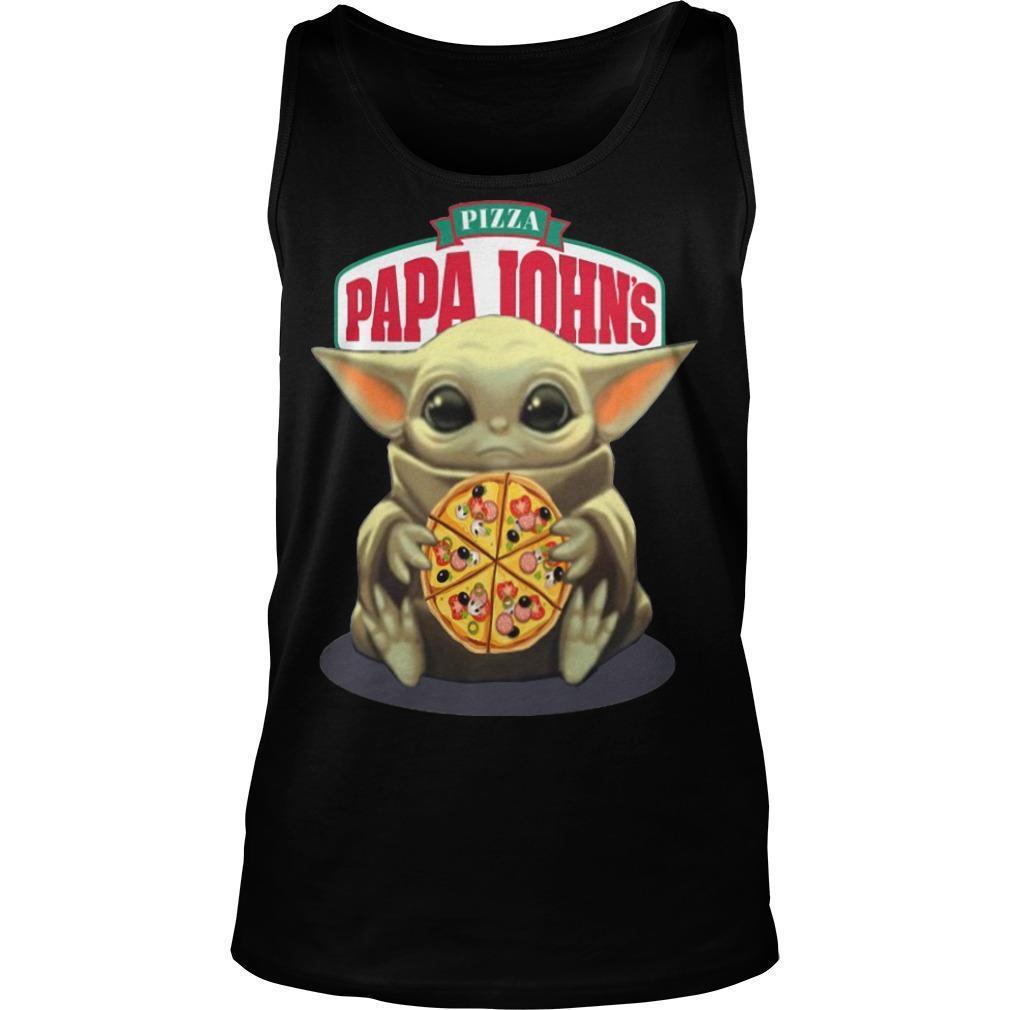 Baby Yoda Hugging Pizza Papa Johns Tank Top