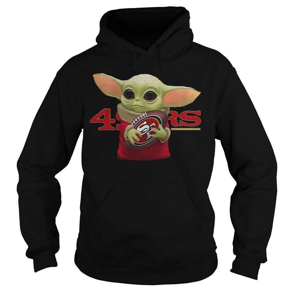 Baby Yoda Hugging San Francisco 49ers Hoodie