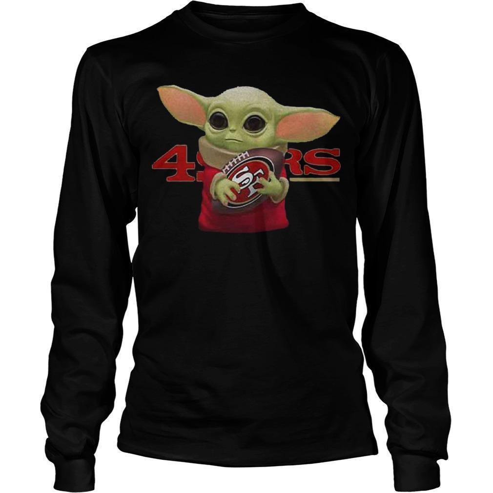 Baby Yoda Hugging San Francisco 49ers Longsleeve