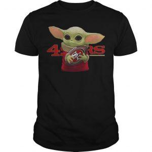 Baby Yoda Hugging San Francisco 49ers Shirt