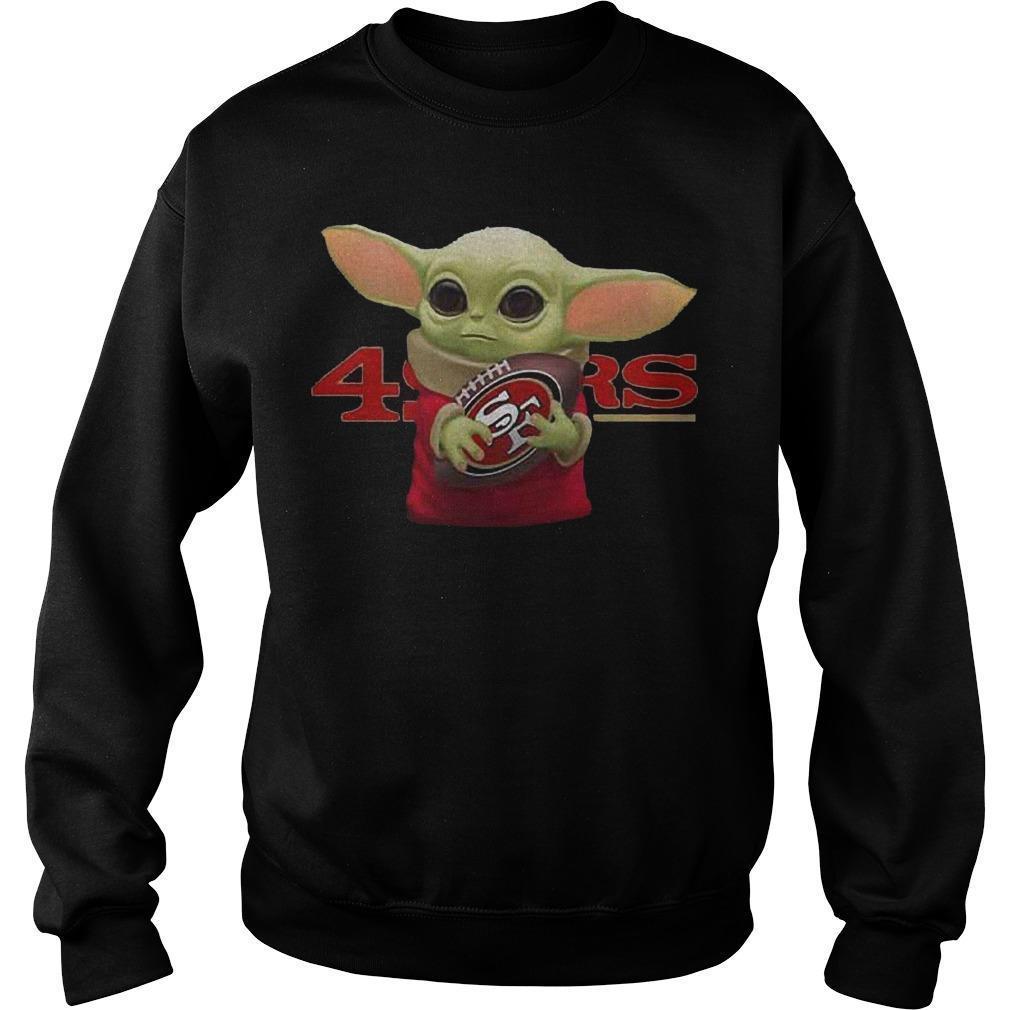 Baby Yoda Hugging San Francisco 49ers Sweater