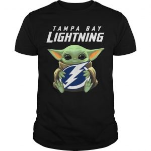 Baby Yoda Hugging Tampa Bay Lightning Shirt