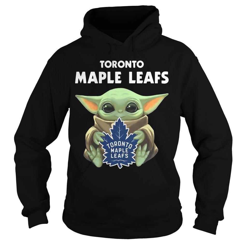 Baby Yoda Hugging Toronto Maple Leafs Hoodie