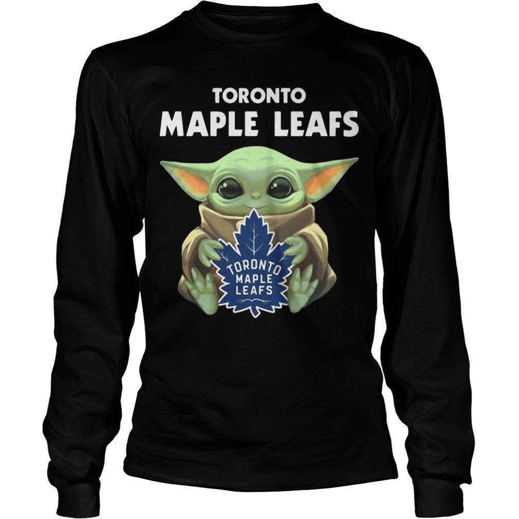 Baby Yoda Hugging Toronto Maple Leafs Longsleeve