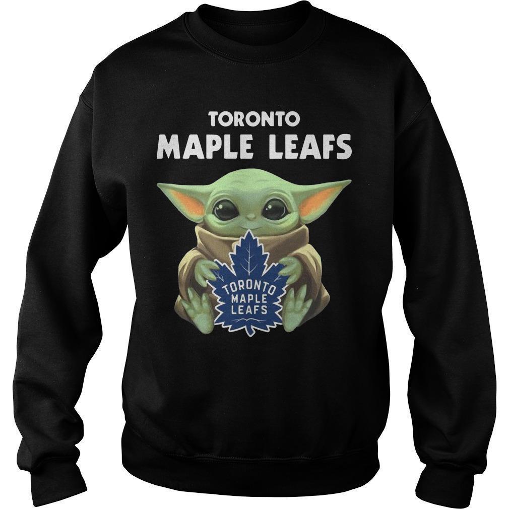 Baby Yoda Hugging Toronto Maple Leafs Sweater
