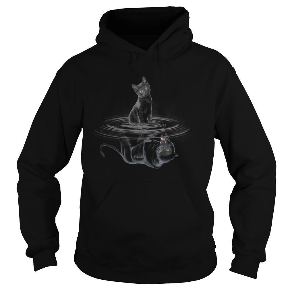 Black Cat Water Reflection Black Panther Hoodie