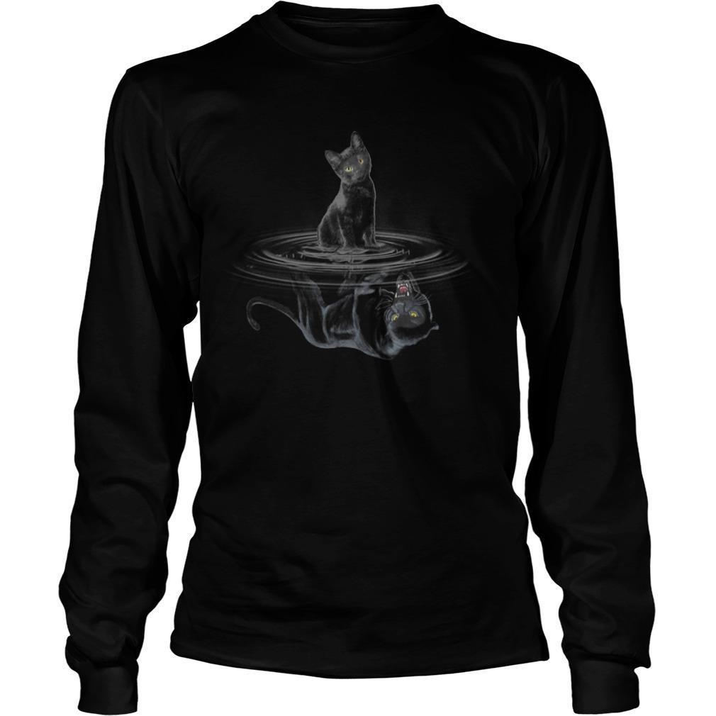 Black Cat Water Reflection Black Panther Longsleeve
