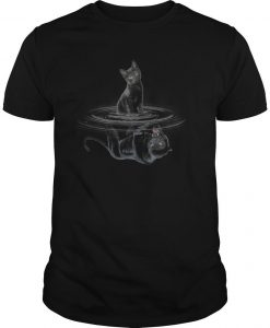 Black Cat Water Reflection Black Panther Shirt