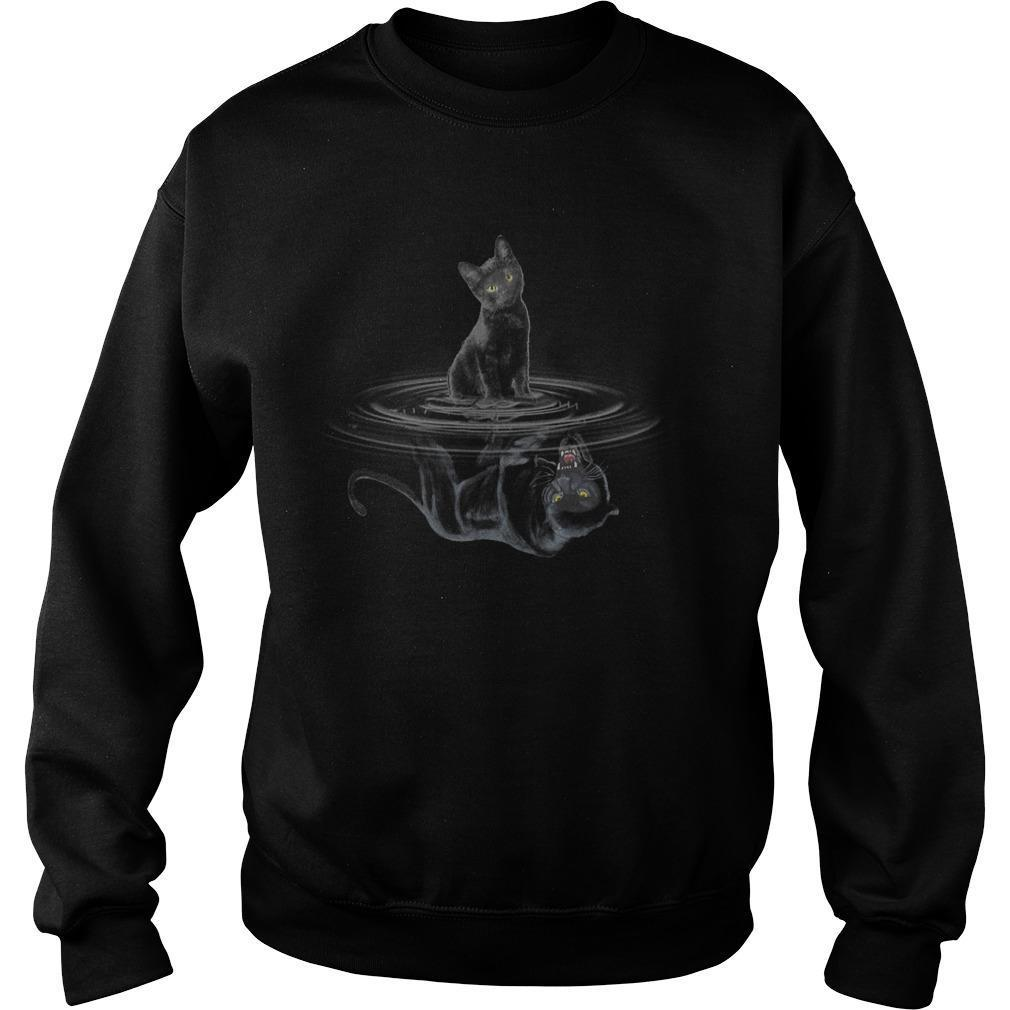 Black Cat Water Reflection Black Panther Sweater