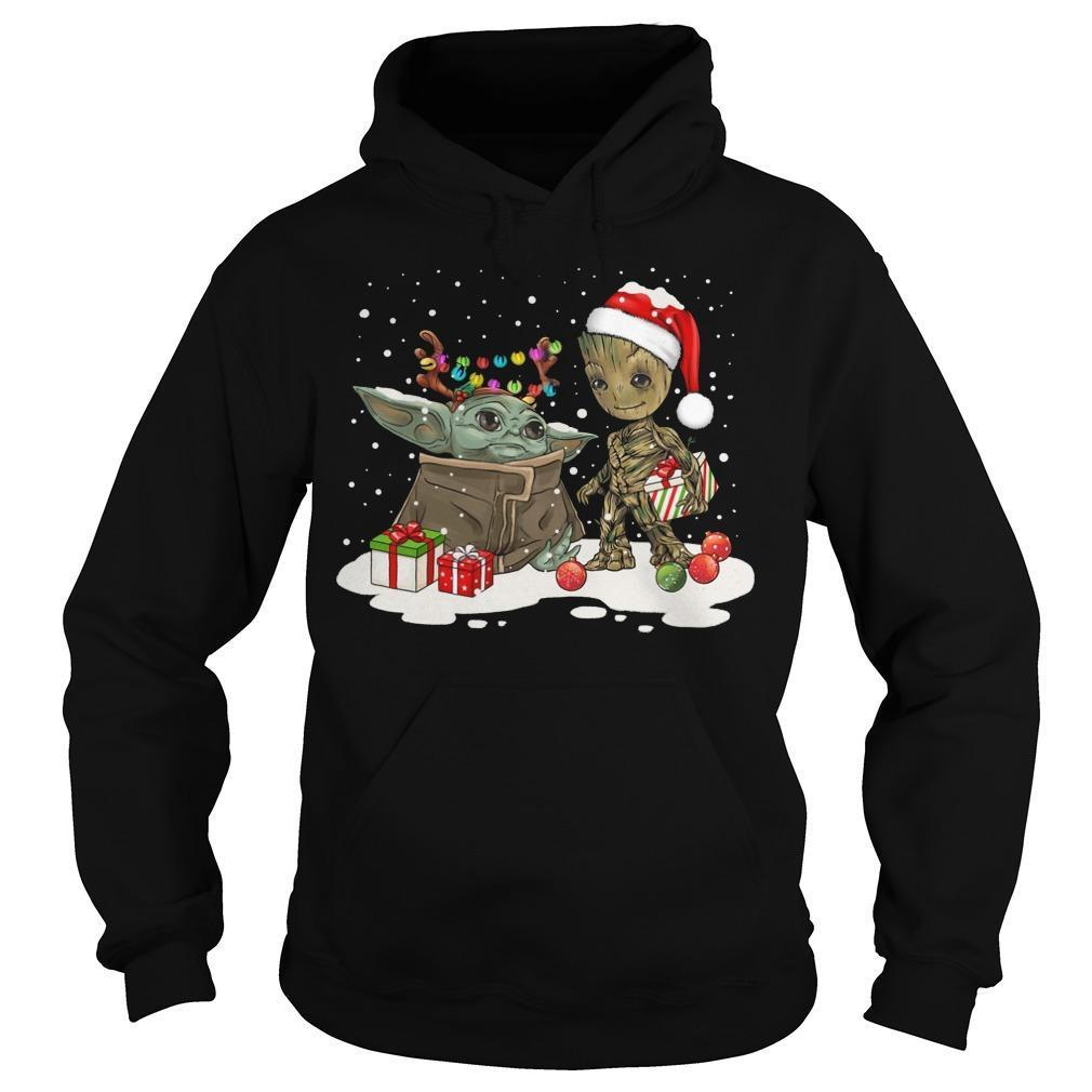 Christmas Baby Yoda And Groot Hoodie