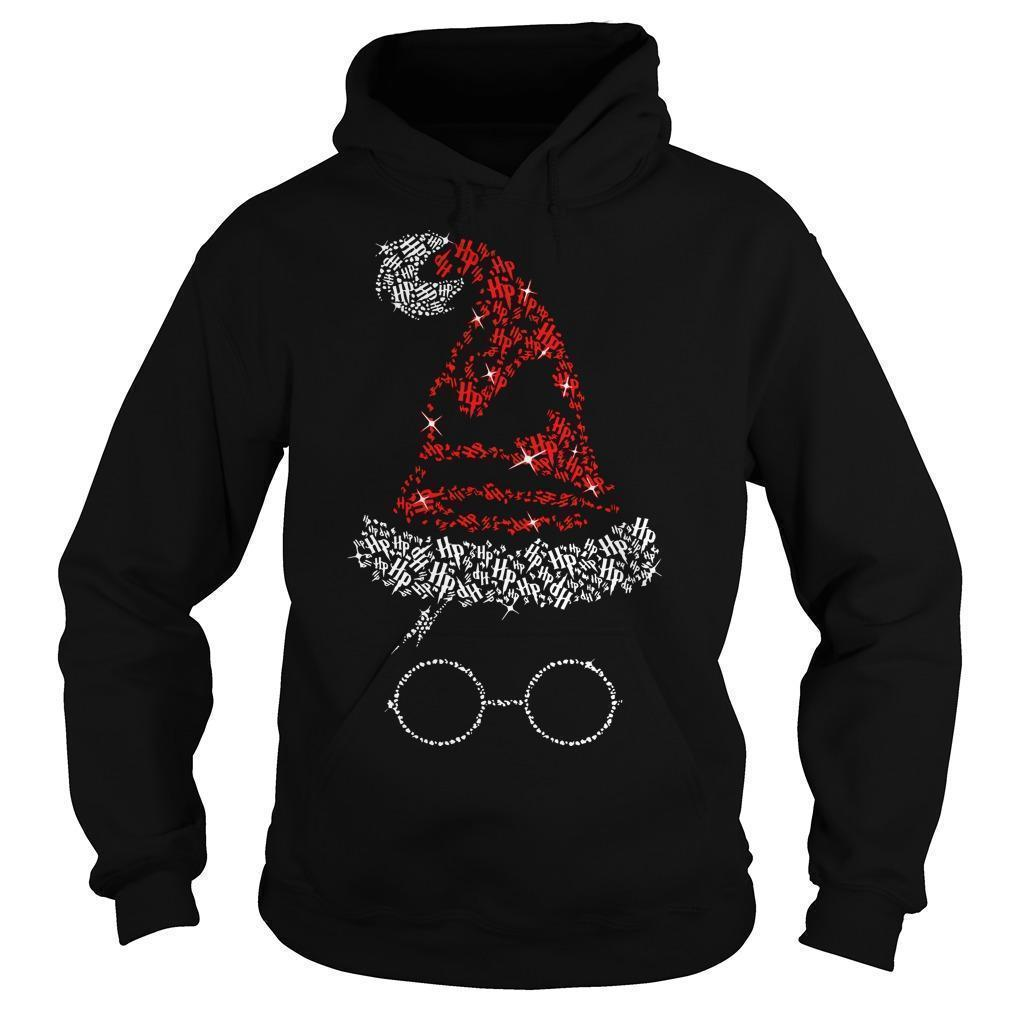 Christmas Harry Potter Santa Rhinestone Sorting Hat Hoodie