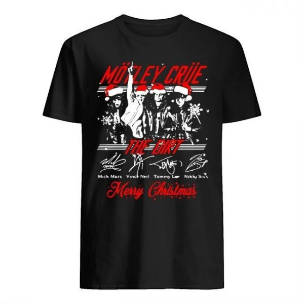 Santa Motley Crue The Dirt Merry Christmas Signatures Shirt