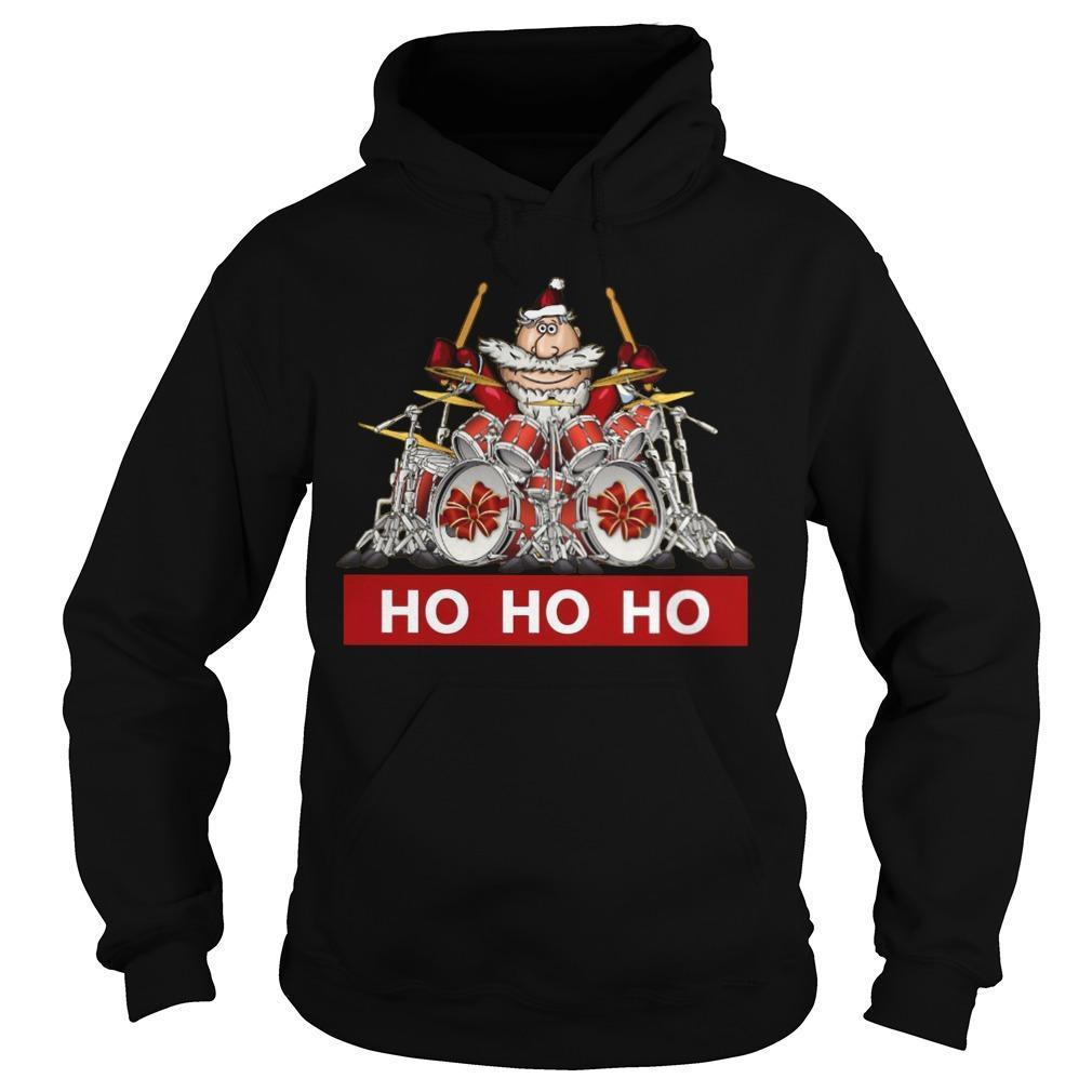 Santa Playing Drummer Ho Ho Ho Hoodie