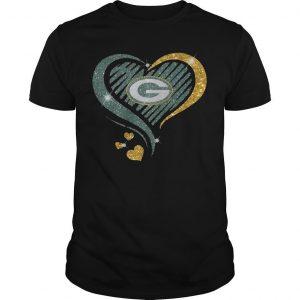 Smile Green Bay Packer Heart Shirt