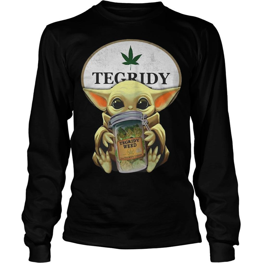 Star Wars Baby Yoda Hugging Tegridy Weed Longsleeve