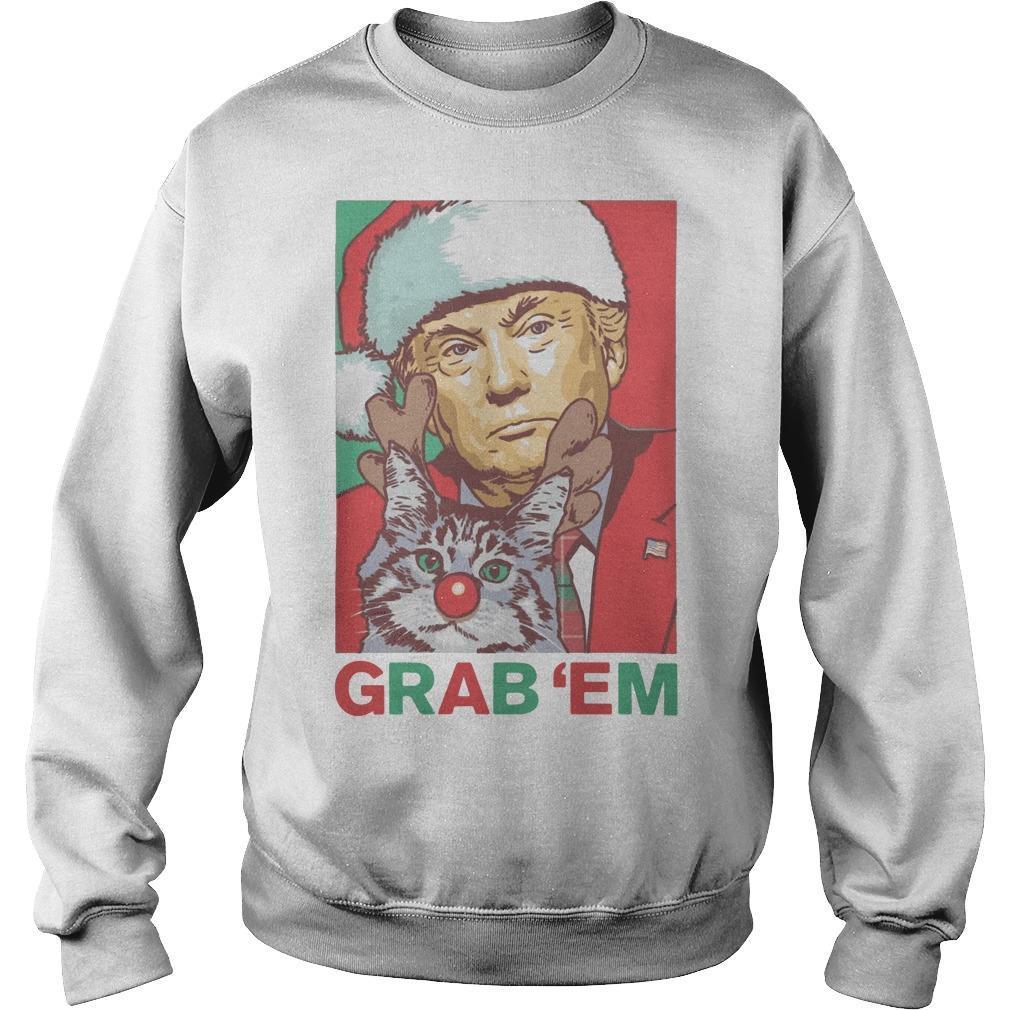 Trump Santa Cat Reindeer Grab'em Sweater