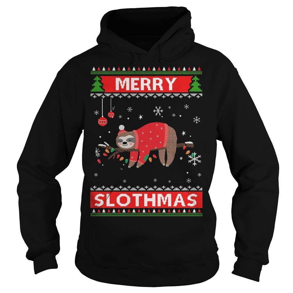 Ugly Christmas Merry Slothmas Hoodie