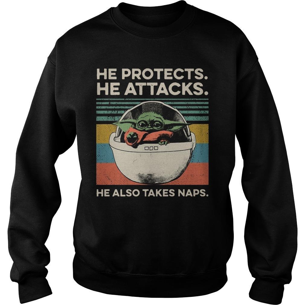 Vintage Baby Yoda He Protects He Attacks He Also Takes Naps Sweater