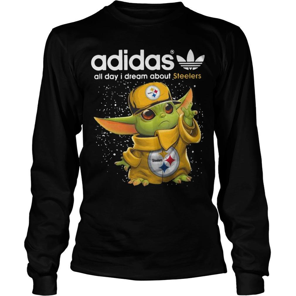 Baby Yoda Adidas All Day I Dream About Steelers Longsleeve