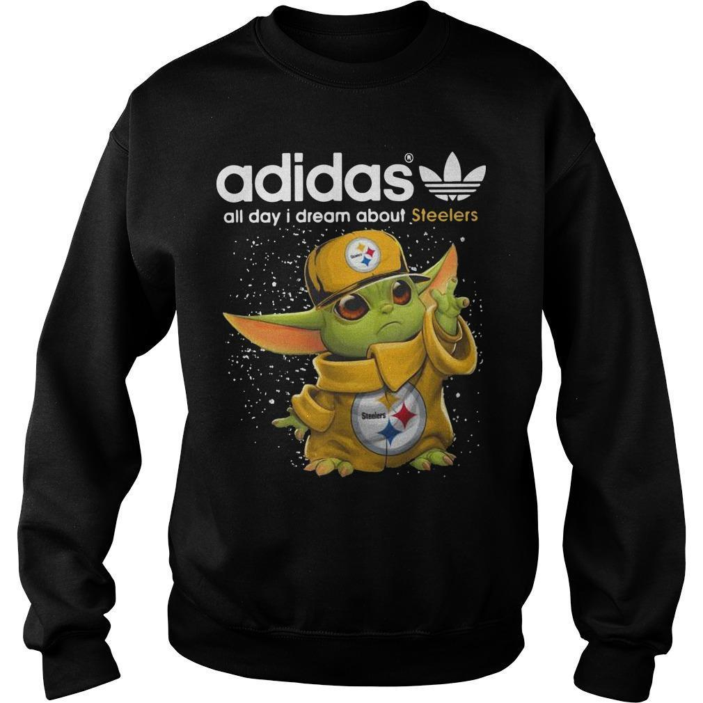 Baby Yoda Adidas All Day I Dream About Steelers Sweater