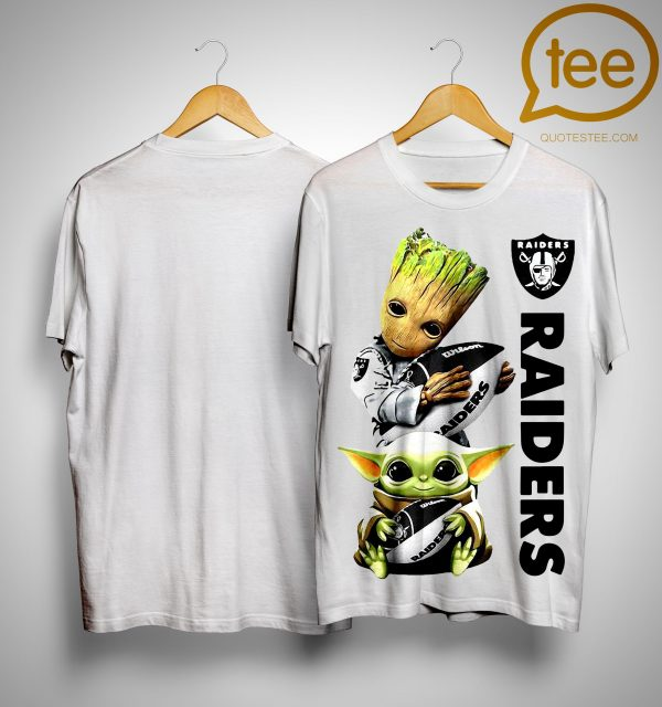 Baby Yoda And Baby Groot Hugging Oakland Raiders Shirt