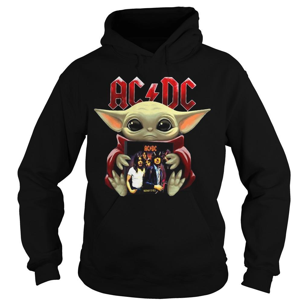 Baby Yoda Hugging Acdc T Hoodie