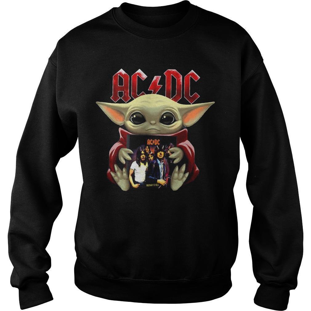 Baby Yoda Hugging Acdc T Sweater