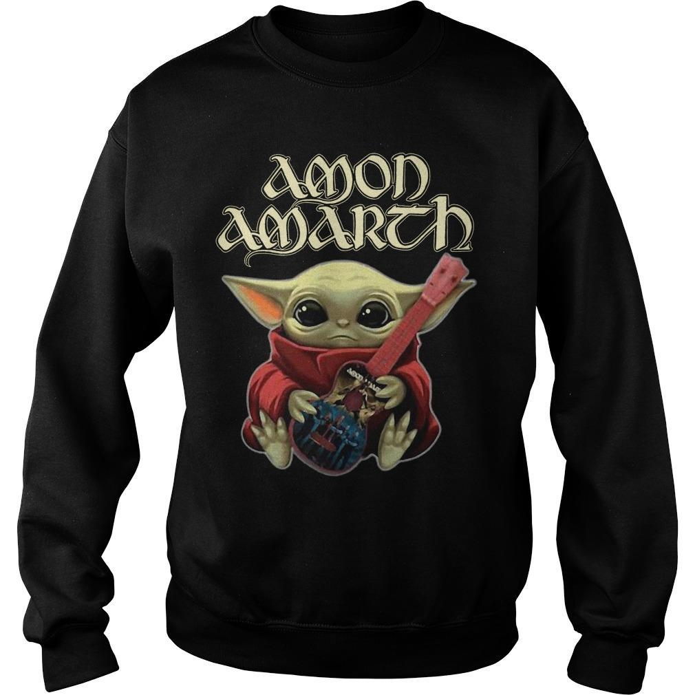 Baby Yoda Hugging Guitar Amon Amarth Sweater
