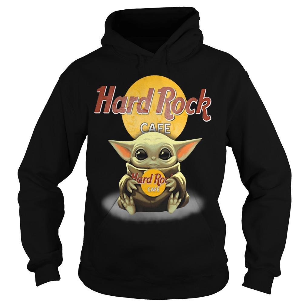Baby Yoda Hugging Hard Rock Cafe Hoodie