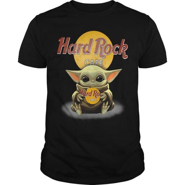 Baby Yoda Hugging Hard Rock Cafe Shirt