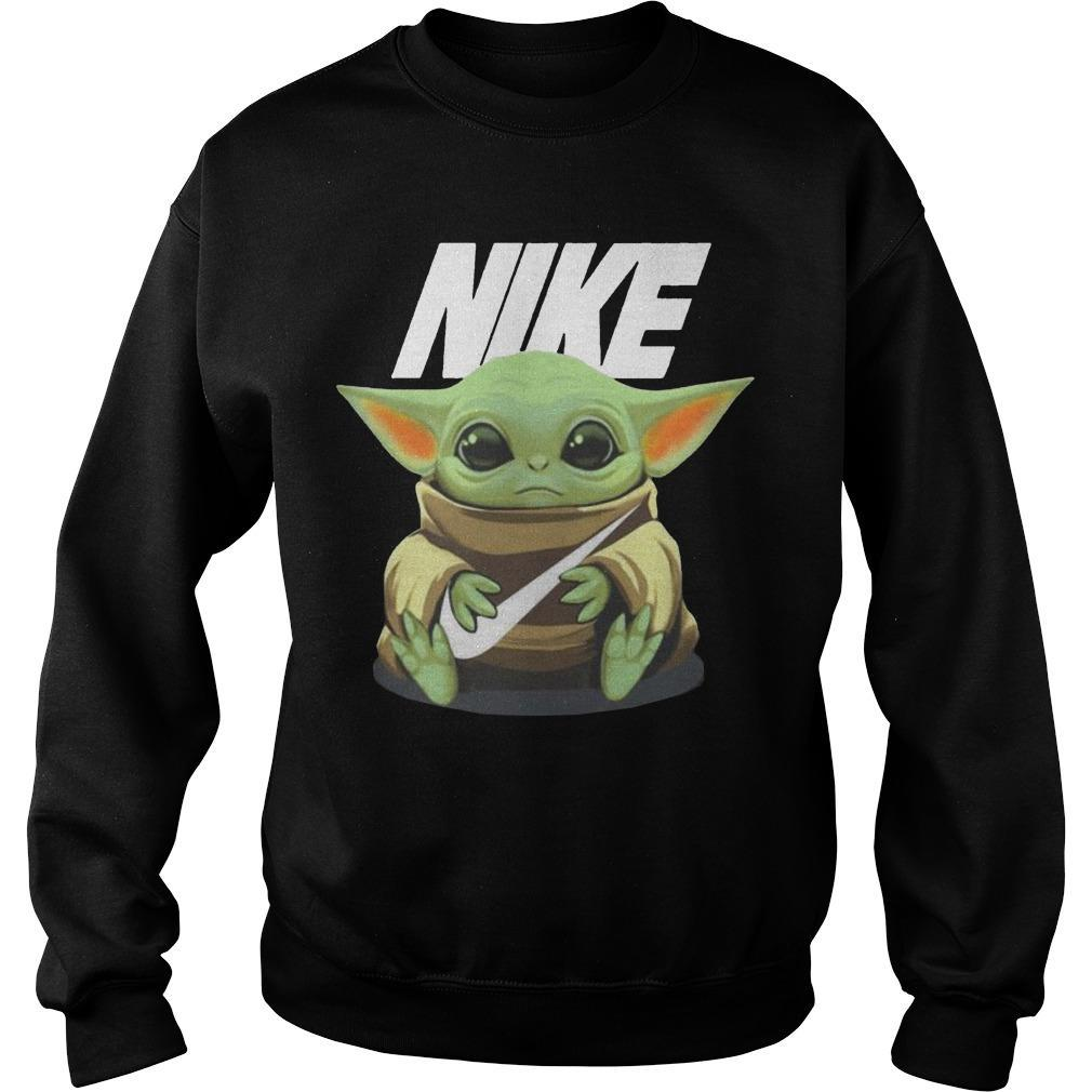 Baby Yoda Hugging Nike Sweater