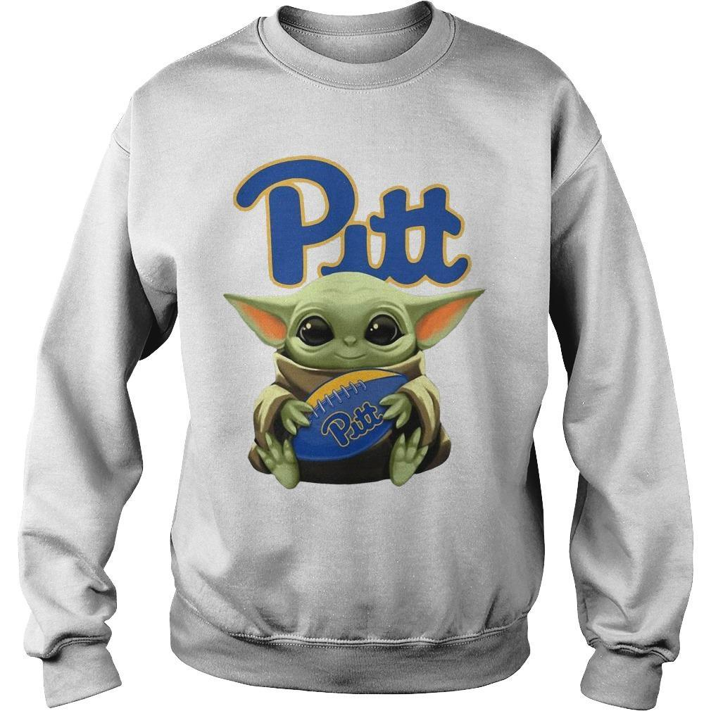 Baby Yoda Hugging Pitt Sweater