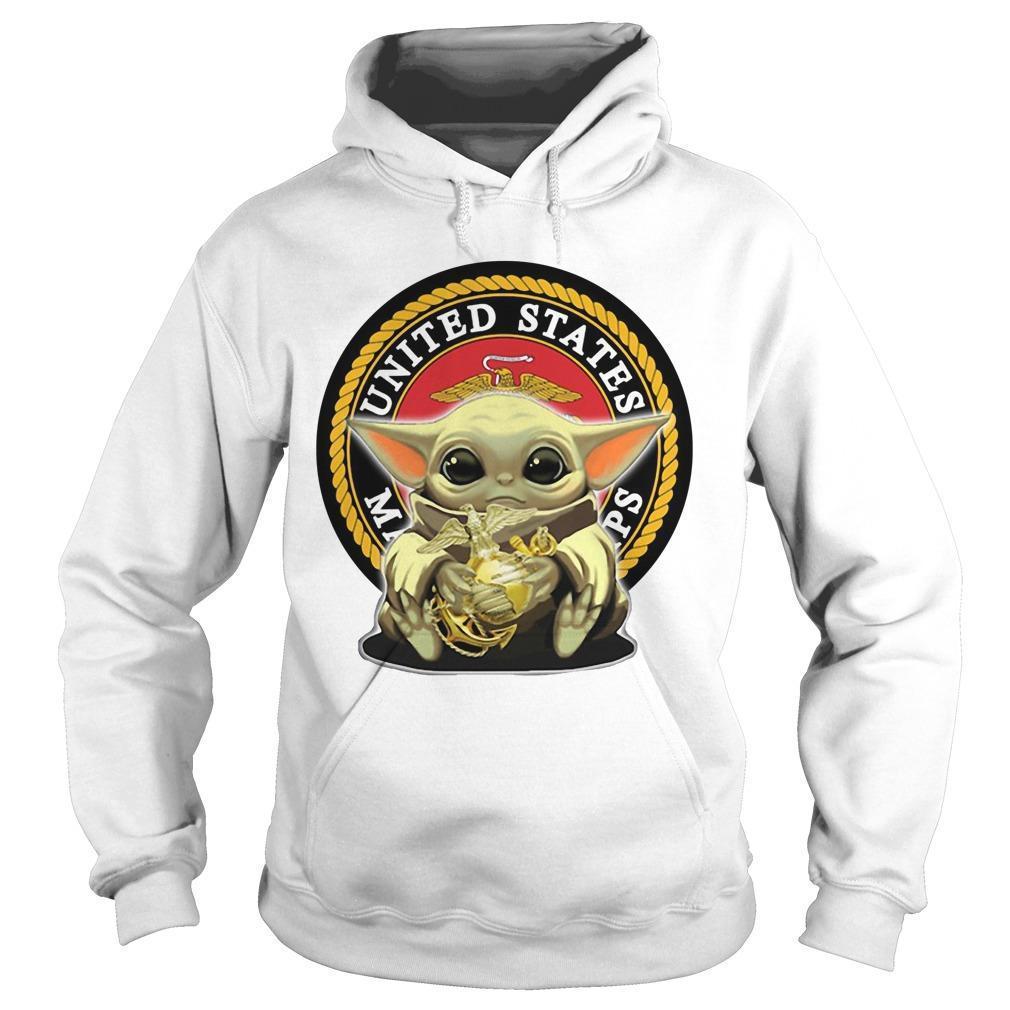 Baby Yoda Hugging United States Marine Corps Hoodie