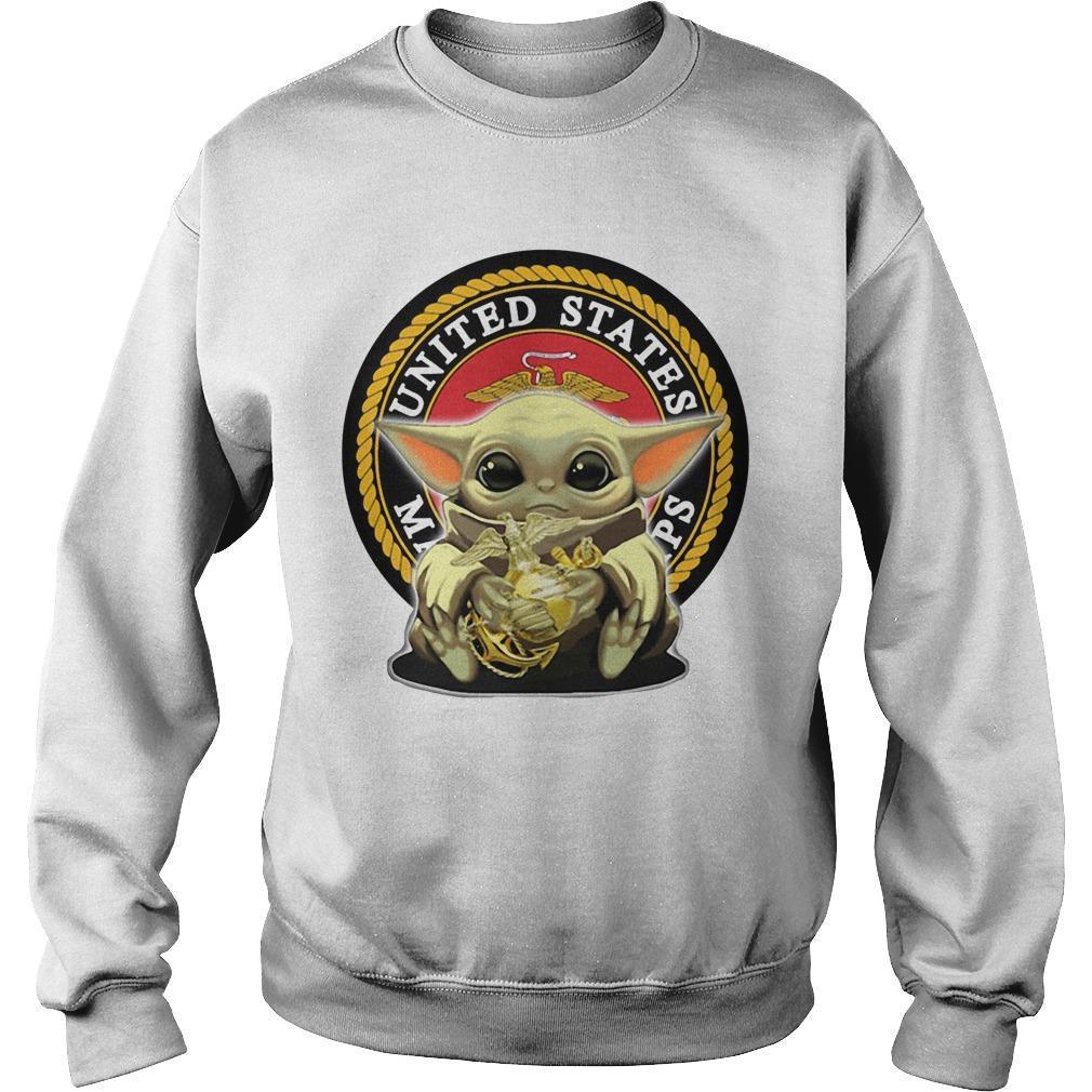 Baby Yoda Hugging United States Marine Corps Sweater