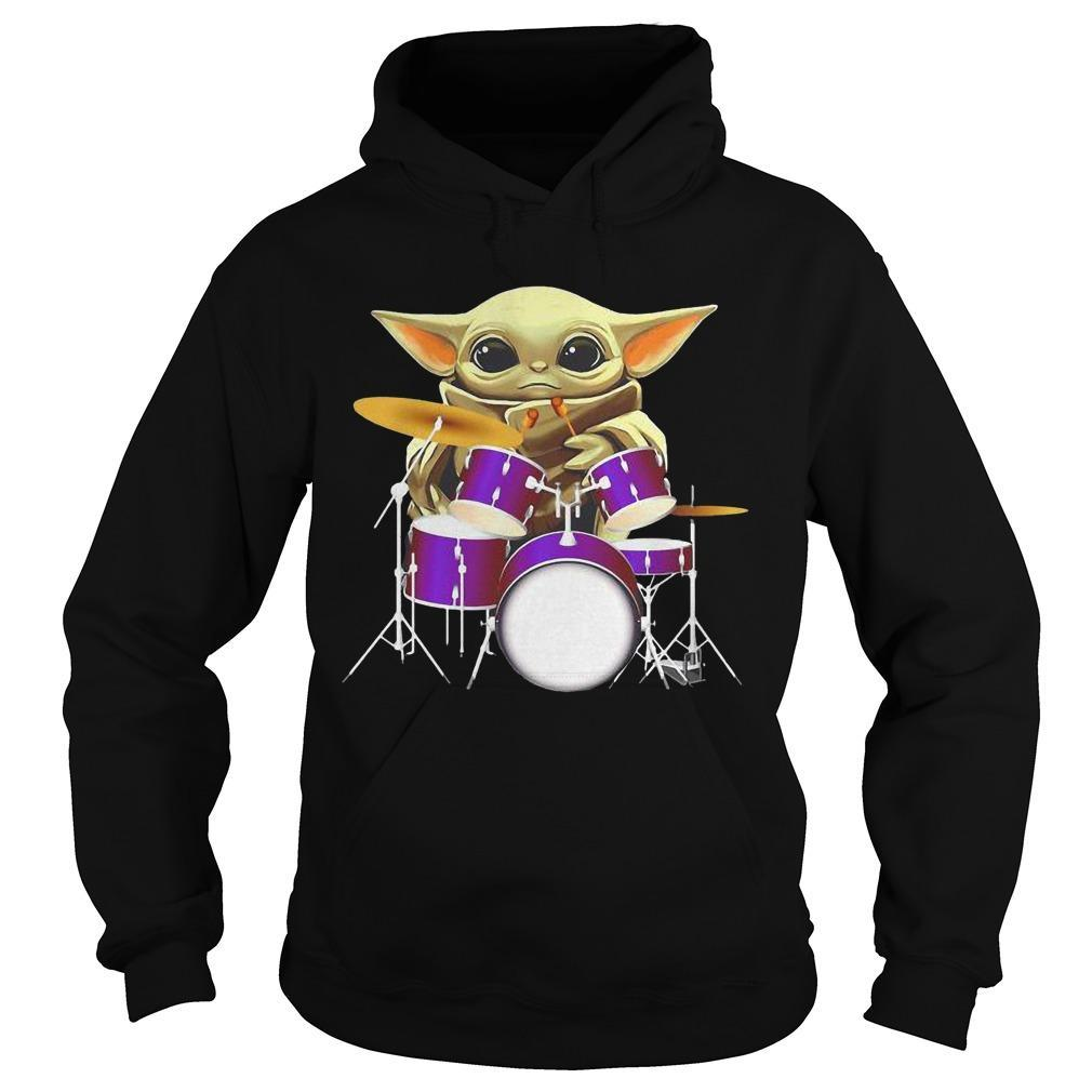 Baby Yoda Playing Drum Hoodie